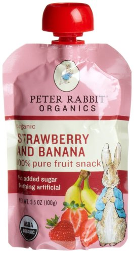 Peter Rabbit Organics, Organic Strawberry and Banana 100% Pure Fruit Snack, 3.5-Ounce Pouches (Pack of 10)