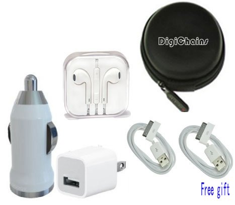 Digichains 5-In-1 Unique Mini Flat Design 30 Pin To Earphone/Cable Hard Case/Bag + Earphone + Wall Charger + Car Charger + Micro Usb Data Charging Cable For Iphone 4 And 4S, Iphone 3G And 3Gs, Ipod