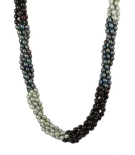 5 Row Tri-Tone Black, Peacock, and Silver Gray Rice Freshwater Pearl with Sterling Silver Spring Ring Clasp Necklace, 18