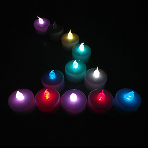 12-Packs Multi-color, LED Plastic Tea Tealight Candles Lamp Flameless Shine Anniversary Wedding Party Restaurant Atmosphere Decoration Battery Operated
