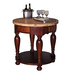 "RSVP Round 36"" Furniture Style Kitchen Island (Misto Cherry and Natural) (36""H x 36""W x 36""D)"