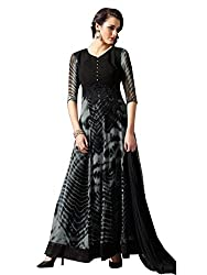 New Grey And Black Georgette Anarkali Suit by Kmozi