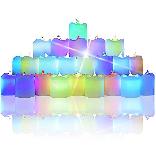 Colore che cambia il Tè a lume di candela, DLAND LED colorati illuminata Flickering Votive stile senza fiamma Candele Mood Light per il giorno di Natale Pacco da 24