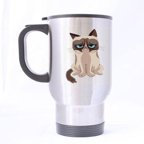 Fantastic Tazza GRUMPY CAT Custom Tazza Da Viaggio In Acciaio Inox