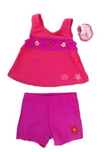 1-3 Years Old Girls Two Piece Swimsuits Color Block Fuchsia Swimwear image