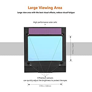 Pro Welding Helmet with Highest Optical Class (1/1/1/1), Larger Viewing Area(3.94x2.87), Wide Shade Range DIN 3/4-8/9-13, 6Pcs Replacement Lenses, Grinding Feature for TIG MIG MMA Plasma - PAH03D (Color: Black, Tamaño: View Area - 3.94x2.87 inch)
