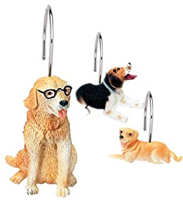 "Carnation Home Fashions ""Dog World"" Resin Shower Curtain Hooks"