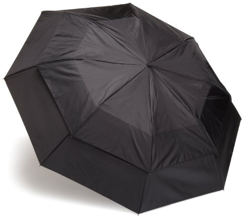 Totes Men's Blue Line  Golf-Size Vented Canopy Compact Umbrella, Black, One Size image