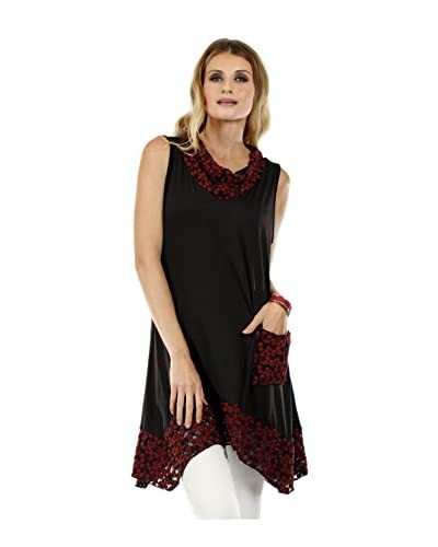 Simply Aster Women's Floral Lace Accent Cowl Neck Tunic