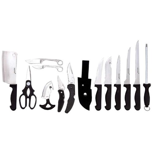 15 Piece Field Butcher Dressing Big Game Deer Hog Processing Hunting Kit Knife Set
