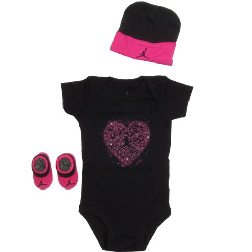Jordan Baby Clothes Spaced 3 Piece Set (0-6M) Black, 0-6 Months