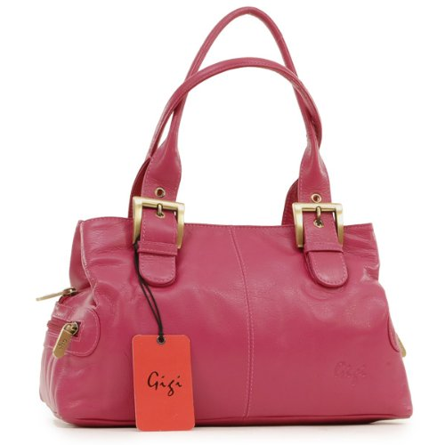 Gigi Leather Handbag - Othello - Magenta Pink