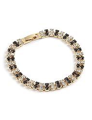 Two Strand Black & Crystal Bracelet - Gold Finish - Swarovski Crystal Bracelet - Unusual Ladies Gift