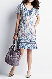 Indigo Collection Tiered Meadow Print Dress [T41-5631-S]