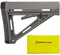 "Magpul Industries MAG 400 MOE Military Mil - Spec Foliage Green Buttstock Stock with Rubber Butt Pad + Ultimate Arms Gear Rifle/Shotgun/Pistol/Gun Care and Reel Silicone Lubricated Cleaning Cloth 12"" x 14"""