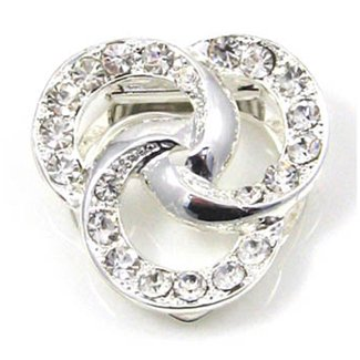 Ring Design Silver Effect Scarf Clip, Brooch, Scarf Tie with Diamante Detail