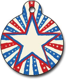 Custom Pet ID Tag for Cats and Dogs - Patriotic Star