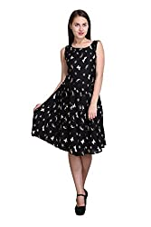New Sierra Women summer cool black butterfly printed pleated boat neck sleeveless dress