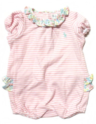 Ralph Lauren Baby Girl One Piece Ruffled Romper (6 Months, Pink / White / Pale Blue Pony) front-1031888