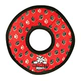 Tuffy's Ultimate Ring Dog Toy, Red Paws