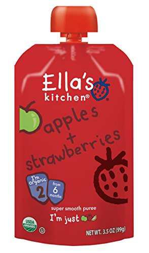 Ella's Kitchen Organic Stage 2, Apples + Strawberries, 3.5 Ounce - 1