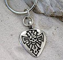 buy Blazers Jewelry 1985 - Guitar Pic Skull Cross Pewter Keychain Key Ring
