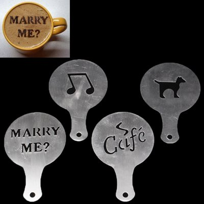 Product Ace 4Pc Pack Coffee/Cappuccino/Latte & Drink Molds (Pack #3 Marry Me Music Cafe Dog)
