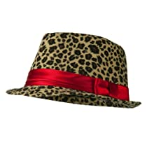 Girls Acrylic Blend Cheetah Print Fedora - Cheetah OSFM