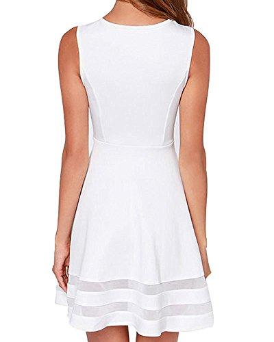 Face N Face Women's Mesh Slim Sleeveless Short Mini Flare Dress Medium White