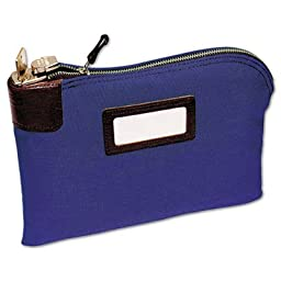 Seven-Pin Security/Night Deposit Bag, Two Keys, Cotton Duck, 11 x 8 1/2, Blue, Sold as 2 Each