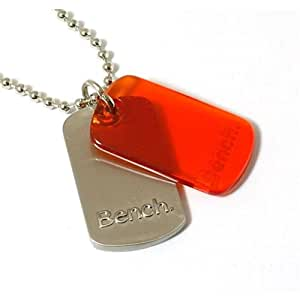 Bench Gents Silvertone Metal & Orange Double Dog Tag Pendant & 22 Inches