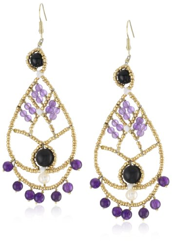 ANDARA Double Teardrop Amethyst Seed Beads Earrings