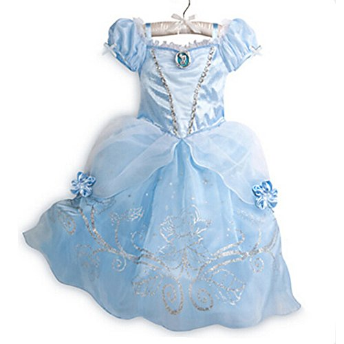 [Z.D New Cinderella Princess Dress cosply Costume Girls Party Dresses, Blue, 110(US 2T)] (Cinderella Costumes For Girl)