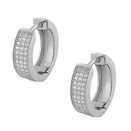 Sterling Silver White Crystals CZ Womens Hoop Huggie Earrings