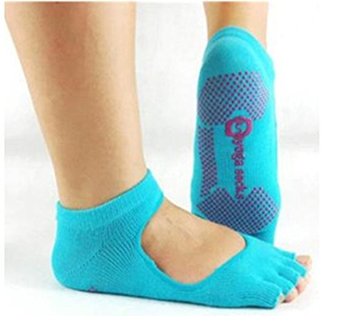 Blue, Sports Yoga Gym Dance Socks Non Slip Fitness Cotton Socks by SiamsShop