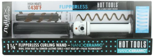 Hot Tools Professional Flipperless Curling Wand, 1.25 Inch (Flocked Curling Iron compare prices)