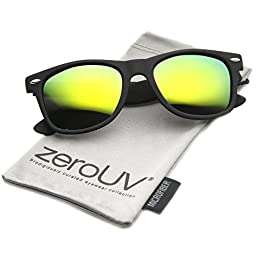 zeroUV - Flat Matte Reflective Mirror Color Lens Large Horn Rimmed Style Sunglasses - UV400 (Polarized | Rubberized Blk)