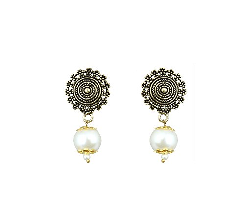 Waama Jewels Beautiful White Pearl Gold Plated Dangle & Drop For College Wear, Festive Wear, Party Wear, Best Selling Earrings  available at amazon for Rs.129