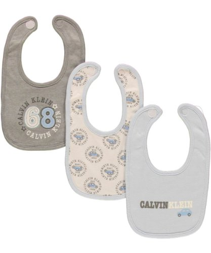 "Calvin Klein ""68 Seal"" 3-Pack Bibs - gray/blue, newborn - 1"