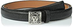 AK Anne Klein Women's Patent Saffiano Panel with Lion Logo Plaque Belt, Black/Nickel, X-Large