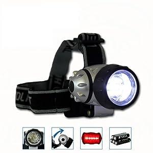 Linterna de frente 7 LED + Luz trasera + Pilas