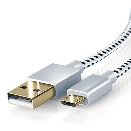 CSL-2m-Premium-Micro-USB-auf-USB-Kabel-mit-Metallstecker-Nylonmantel-besonders-strapazierfhig-flexibles-Lade-und-Datenkabel-mit-vergoldeten-Kontakten-fr-Android-Samsung-HTC-Motorola-Nokia-LG-HP-Sony-B