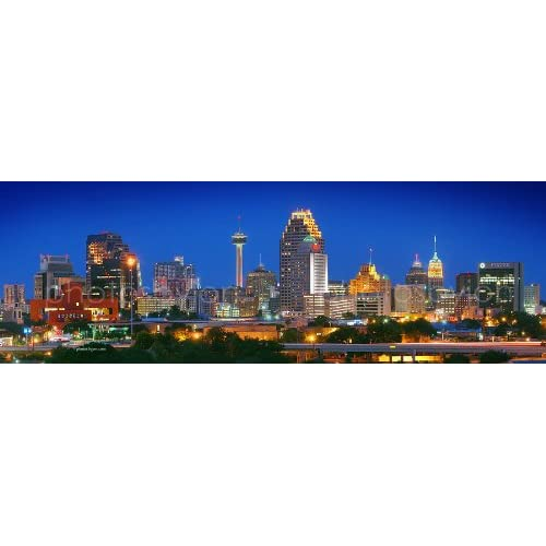 Amazon.com: San Antonio City Skyline at NIGHT Color 12 inches x 36