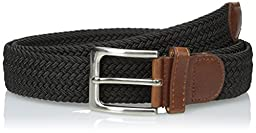 CTM® Mens Elastic Silver Buckle with Tan Tabs Braided Stretch Belt, Small, Black