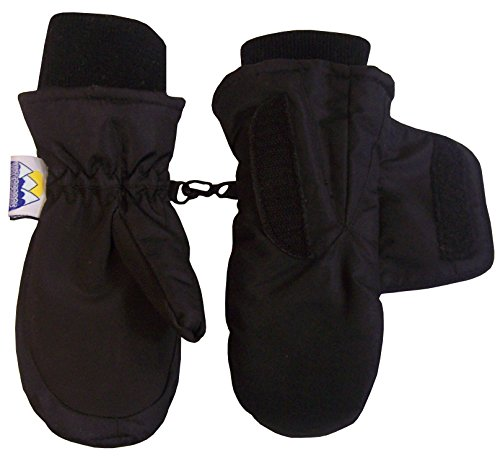 N'Ice Caps Kids Easy On Velcro Wrap Waterproof Thinsulate Winter Snow Mitten (1-2 Years, Black)