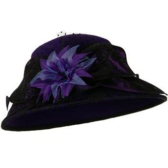 Lace Flower Ribbon Wool Felt Hat - Purple OSFM
