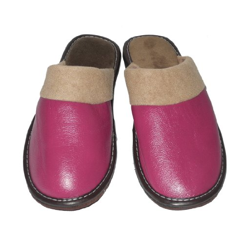 Image of Womens Open Back Lounge / House Slippers with Leather Toe and Suede Sole - Purple (B006JXZLUQ)