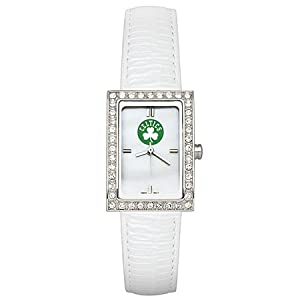 CZNSW22412Q-w-White Leather Boston Celtics Watch with Cz Frame by NBA Officially Licensed