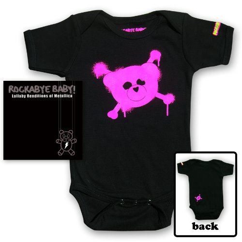 Rockabye Baby! Lullaby Renditions of Metallica + Rockabye Baby 100% Organic Cotton Onesie (Pink)