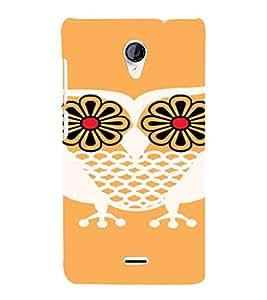 PrintVisa Flower Owl Art 3D Hard Polycarbonate Designer Back Case Cover for Micromax Unite 2 A106